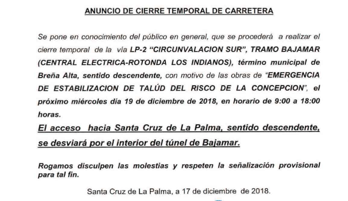 El Cabildo ejecuta este miércoles trabajos previos a las obras de emergencia para estabilizar el talud del Risco de la Concepción